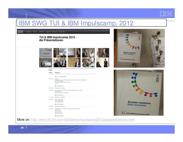 IBM SWG TUI & IBM Impulscamp, 2012  More on: http://www-05.ibm.com/de/events/impulscamp2012/praesentationen.html 32