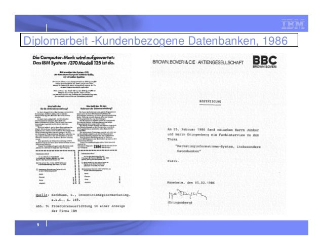 Diplomarbeit -Kundenbezogene Datenbanken, 1986  9
