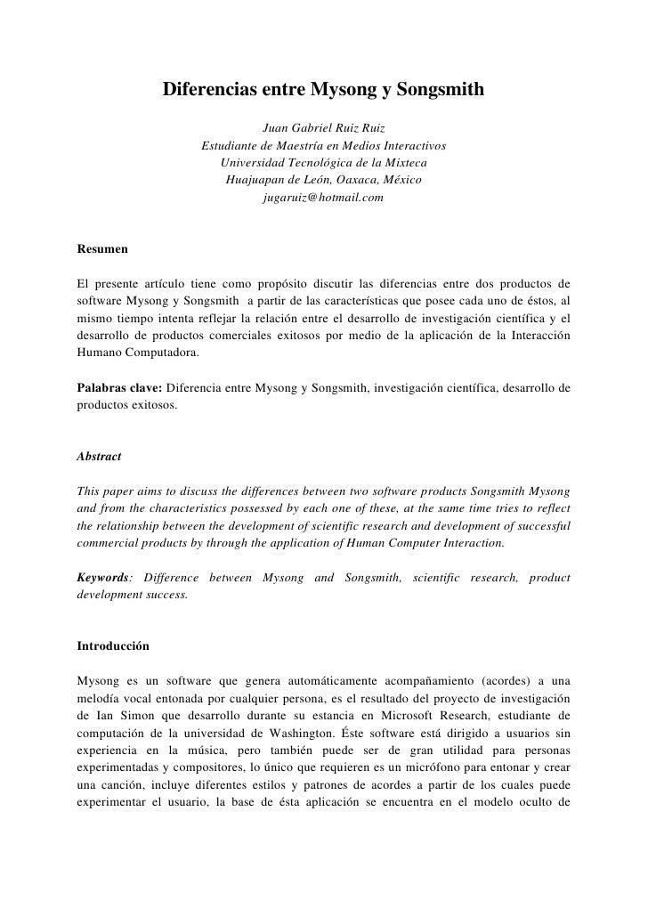 Diferencias entre Mysong y Songsmith                                   Juan Gabriel Ruiz Ruiz                        Estud...
