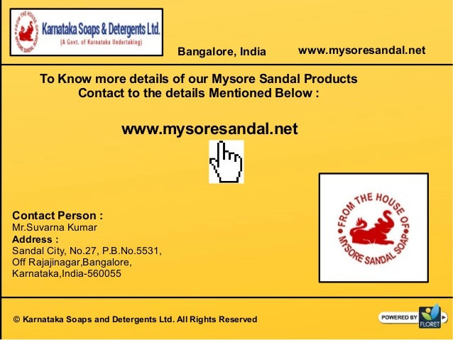 Mysore Sandal Products Manufacturer Karnataka Soaps And