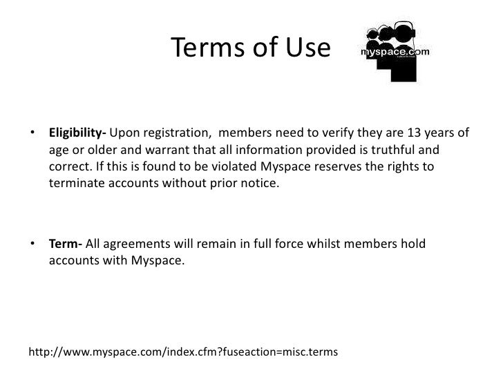 myspace terms and conditions rh slideshare net