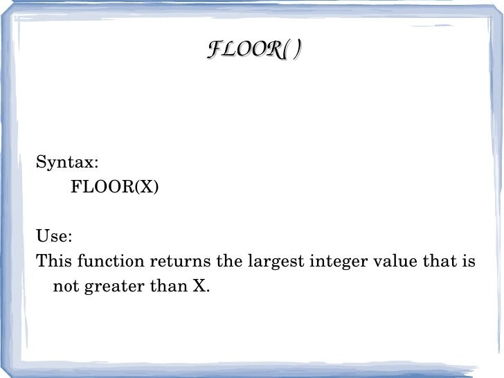 Superb FLOOR( ...