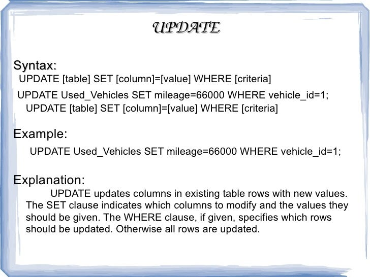 UPDATE Syntax UPDATE [table] SET ...  sc 1 st  SlideShare : update table set values - pezcame.com