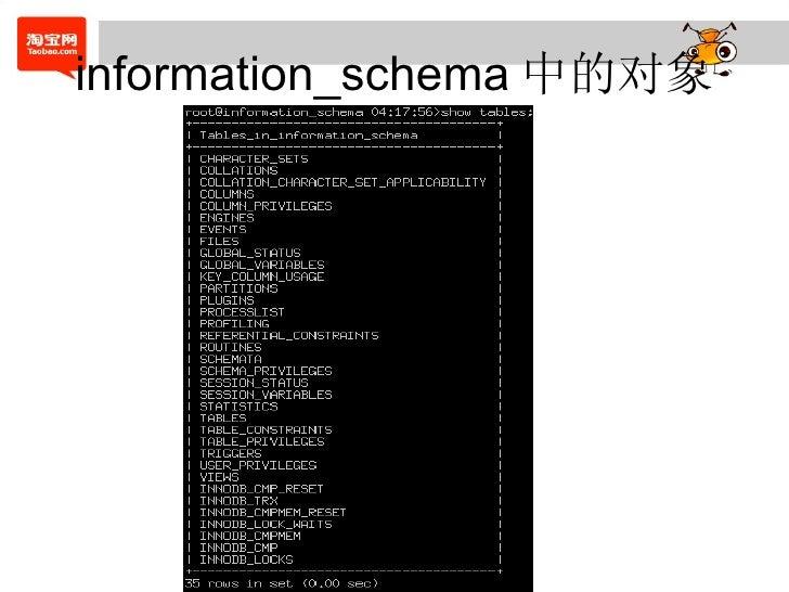 information_schema 中的对象