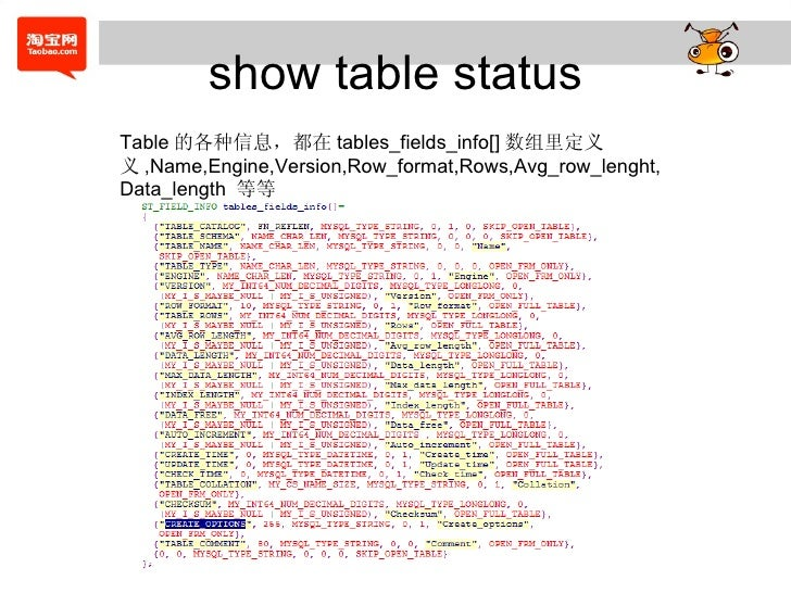 show table status Table 的各种信息,都在 tables_fields_info[] 数组里定义义 ,Name,Engine,Version,Row_format,Rows,Avg_row_lenght,Data_leng...