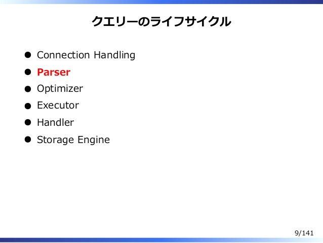 クエリーのライフサイクル Connection Handling Parser Optimizer Executor Handler Storage Engine 9/141