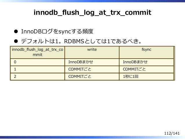innodb̲flush̲log̲at̲trx̲commit InnoDBログをsyncする頻度 デフォルトは1。RDBMSとしては1であるべき。 innodb̲flush̲log̲at̲trx̲co mmit write fsync 0 In...