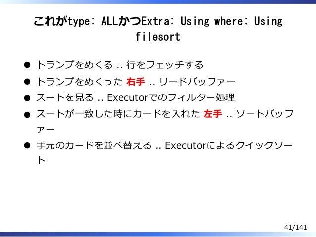 これがtype: ALLかつExtra: Using where; Using filesort トランプをめくる .. ⾏をフェッチする トランプをめくった 右⼿ .. リードバッファー スートを⾒る .. Executorでのフィルター処理...