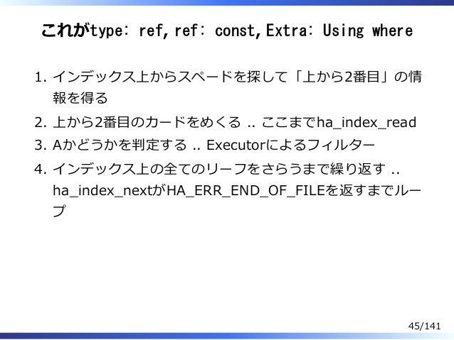 これがtype: ref, ref: const, Extra: Using where インデックス上からスペードを探して「上から2番目」の情 報を得る 1. 上から2番目のカードをめくる .. ここまでha̲index̲read2. Aかど...