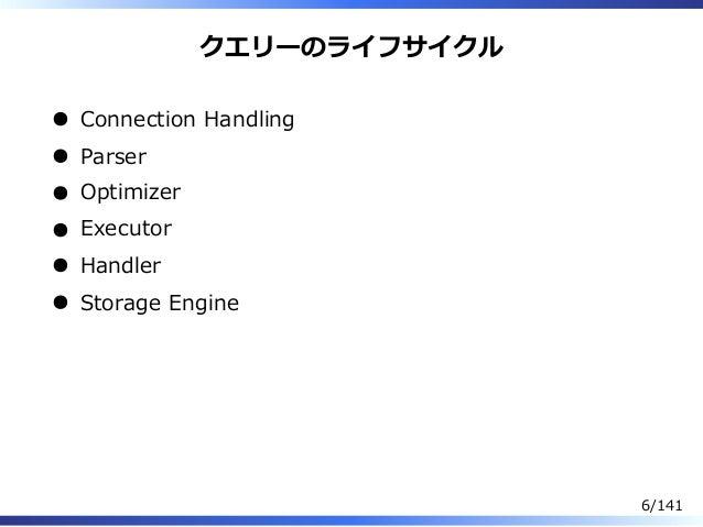 クエリーのライフサイクル Connection Handling Parser Optimizer Executor Handler Storage Engine 6/141