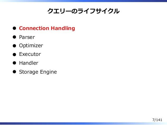 クエリーのライフサイクル Connection Handling Parser Optimizer Executor Handler Storage Engine 7/141