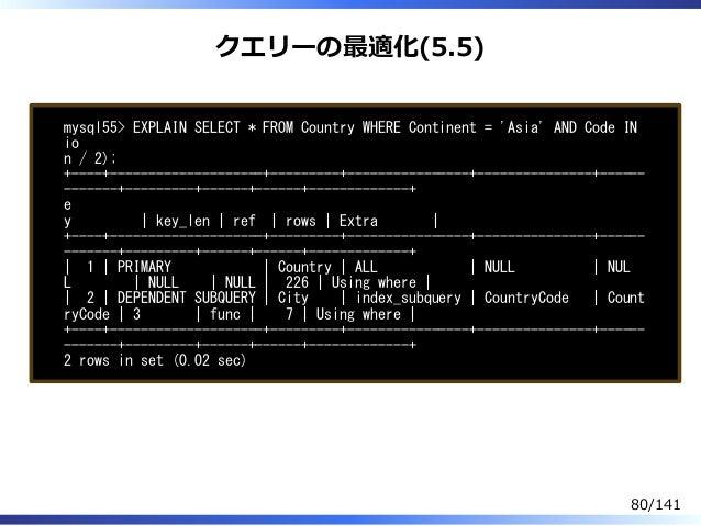 クエリーの最適化(5.5) mysql55> EXPLAIN SELECT * FROM Country WHERE Continent = 'Asia' AND Code IN io n / 2); +----+---------------...