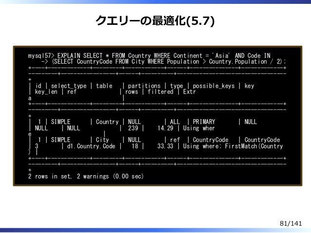 クエリーの最適化(5.7) mysql57> EXPLAIN SELECT * FROM Country WHERE Continent = 'Asia' AND Code IN -> (SELECT CountryCode FROM City...