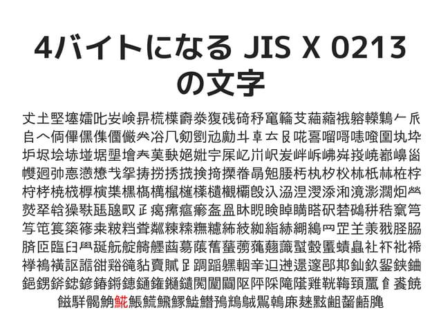 4バイトになる JIS X 02134バイトになる JIS X 0213 の文字の文字 𠀋𡈽𡌛𡑮𡢽𠮟𡚴𡸴𣇄𣗄𣜿𣝣𣳾𤟱𥒎𥔎𥝱𥧄𥶡𦫿𦹀𧃴𧚄𨉷𨏍𪆐𠂉 𠂢𠂤𠆢𠈓𠌫𠎁𠍱𠏹𠑊𠔉𠗖𠘨𠝏𠠇𠠺𠢹𠥼𠦝𠫓𠬝𠵅𠷡𠺕𠹭𠹤𠽟𡈁 𡉕𡉻𡉴𡋤𡋗𡋽𡌶𡍄𡏄𡑭𡗗𦰩𡙇𡜆𡝂𡧃𡱖𡴭𡵅𡵸𡵢𡶡...