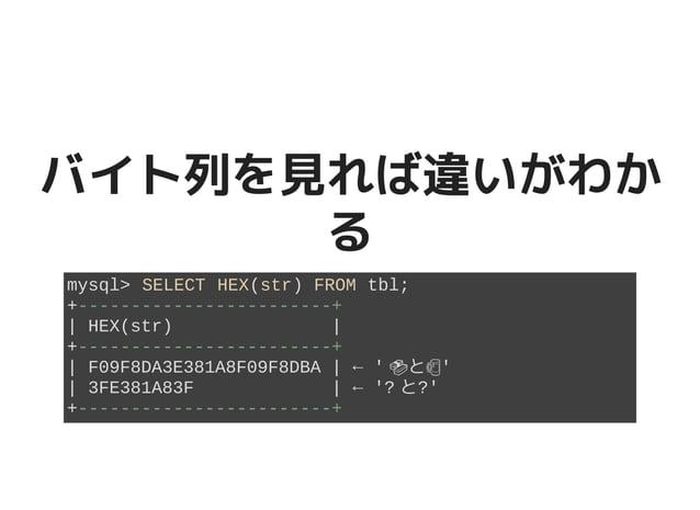 バイト列を見れば違いがわかバイト列を見れば違いがわか るる mysql> SELECT HEX(str) FROM tbl; +------------------------+ | HEX(str) | +------------------...
