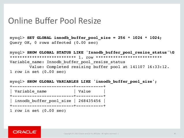 Upcoming changes in mysql 5 7 for Show buffer pool size