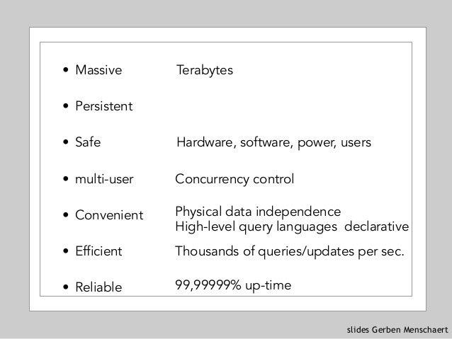 slides Gerben Menschaert • Massive • Persistent • Safe • multi-user • Convenient • Efficient • Reliable Terabytes Hardware...