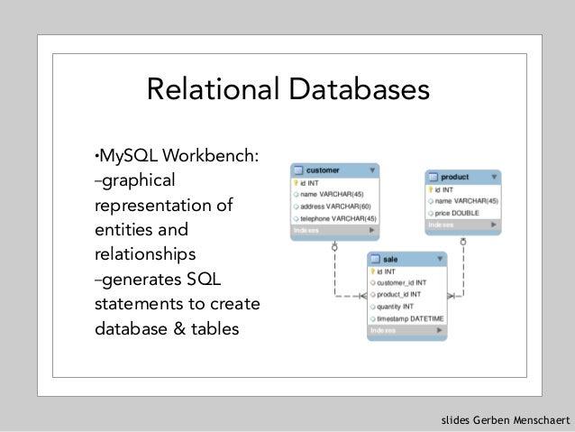 slides Gerben Menschaert Relational Databases !MySQL Workbench: –graphical representation of entities and relationships –g...