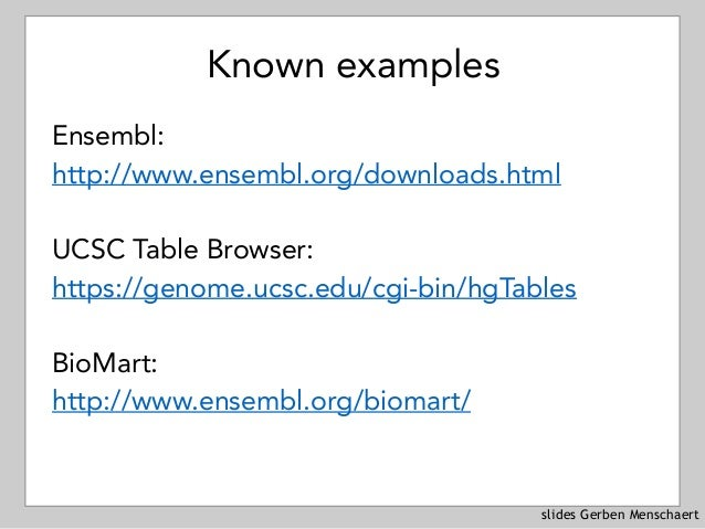 slides Gerben Menschaert Known examples Ensembl: http://www.ensembl.org/downloads.html UCSC Table Browser: https://genome....