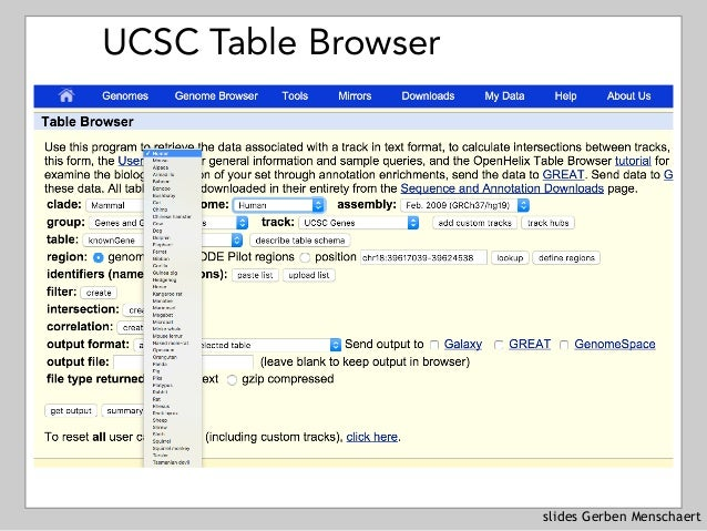 slides Gerben Menschaert UCSC Table Browser
