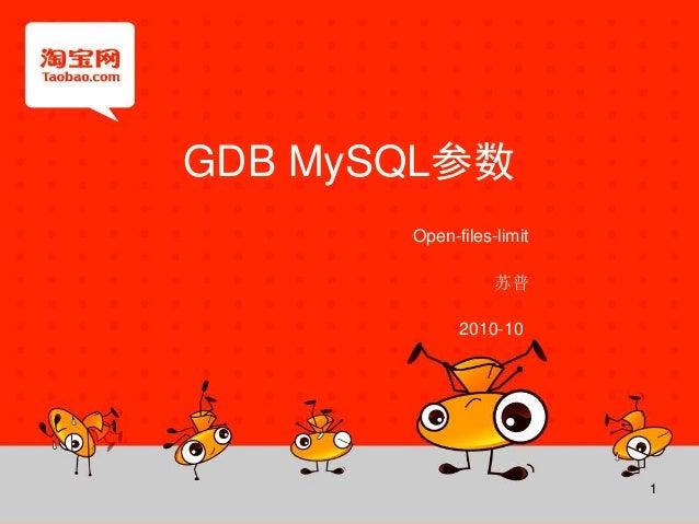 1 GDB MySQL参数 苏普 2010-10 Open-files-limit