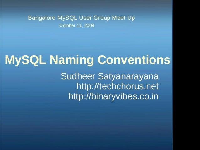 Bangalore MySQL User Group Meet Up October 11, 2009 MySQL Naming Conventions Sudheer Satyanarayana http://techchorus.n...