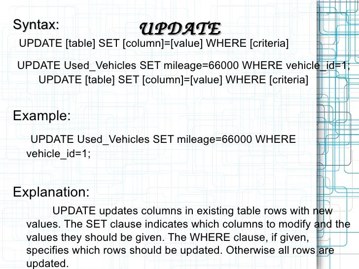 UPDATE Syntax UPDATE [table] SET ...  sc 1 st  SlideShare & My sql.ppt