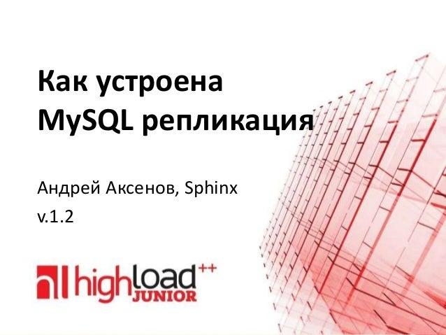 Как устроена MySQL репликация Андрей Аксенов, Sphinx v.1.2
