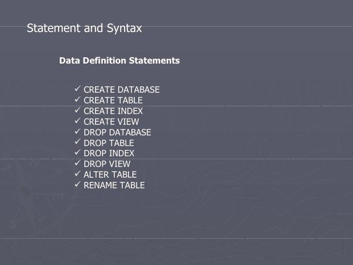 Statement And Syntax Data Definition Statements U003culu003eu003cliu003eCREATE DATABASE ...