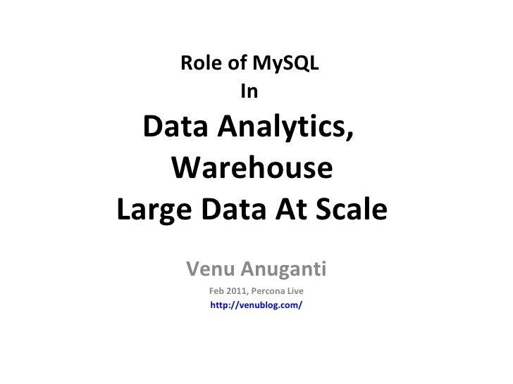 Role of MySQL  In  Data Analytics,  Warehouse Large Data At Scale Venu Anuganti Feb 2011, Percona Live http://venublog.com/