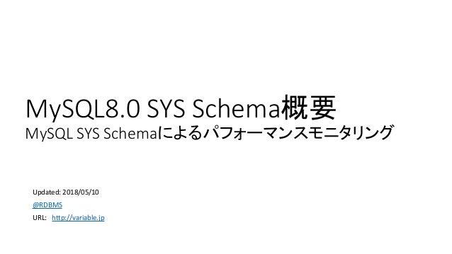 MySQL8.0 SYS Schema概要 MySQL SYS Schemaによるパフォーマンスモニタリング Updated: 2018/05/10 @RDBMS URL: http://variable.jp