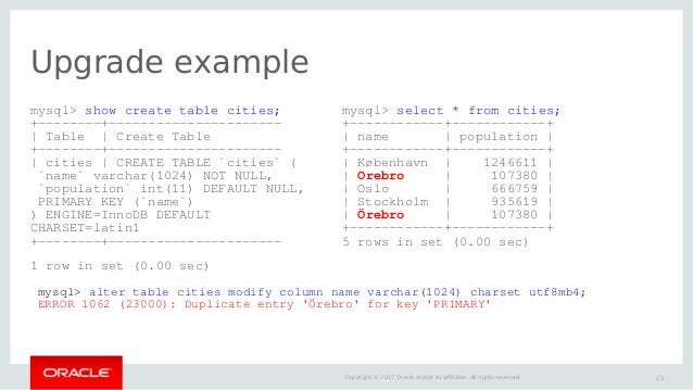 23Copyright © 2017 Oracle and/or its affiliates. All rights reserved. Upgrade example mysql> show create table cities; +--...