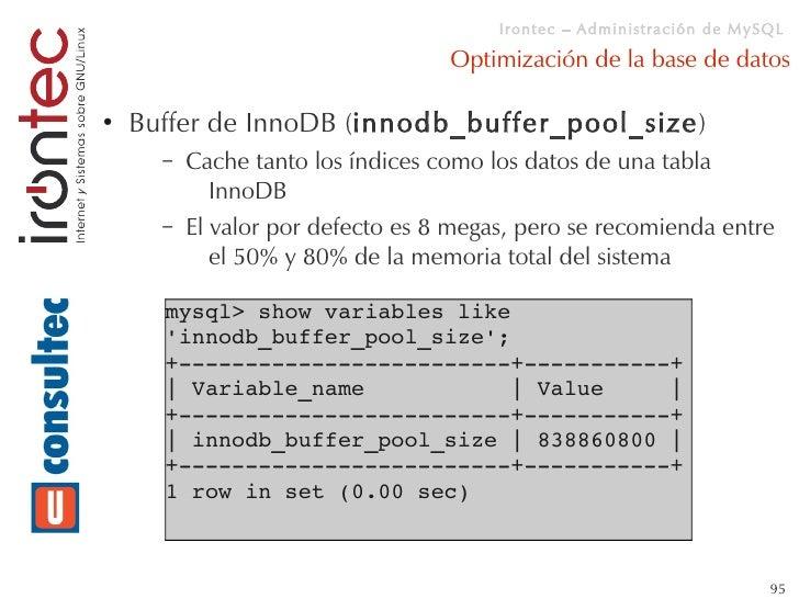 Mysql administracion for Show buffer pool size