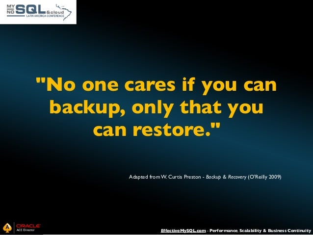 MySQL Backup and Recovery Essentials Slide 2
