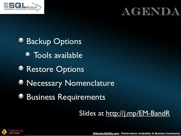 MySQL Backup and Recovery Essentials Slide 3