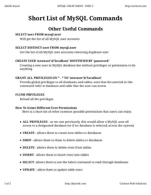 photo about Password Cheat Sheet Printable named Mysql cheatsheet - Section 2