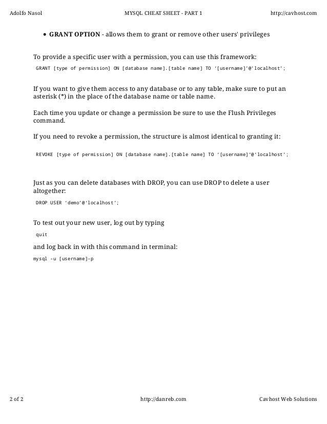 Mysql cheatsheet - Part 2