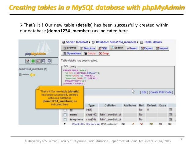 how to create database with phpmyadmin