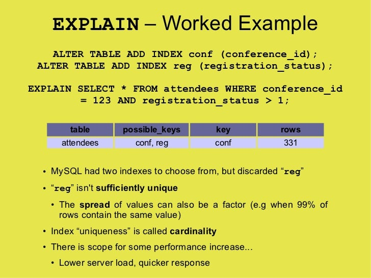 EXPLAIN – Worked Example    ALTER TABLE ADD INDEX conf (conference_id);  ALTER TABLE ADD INDEX reg (registration_status); ...