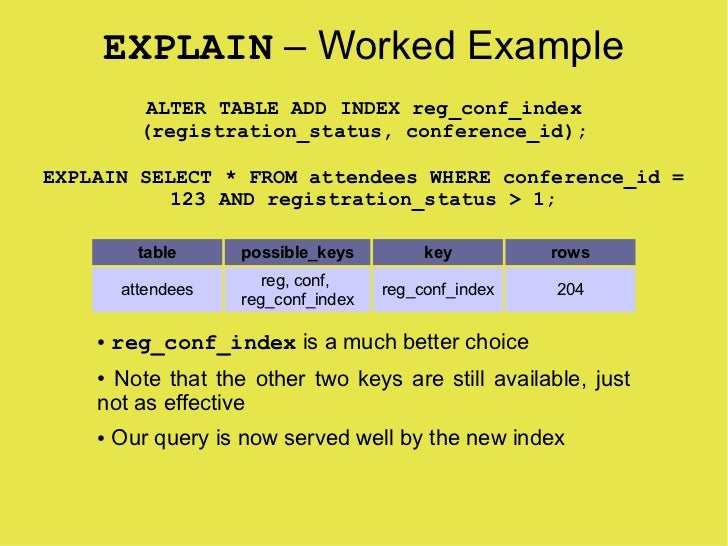 EXPLAIN – Worked Example            ALTER TABLE ADD INDEX reg_conf_index           (registration_status, conference_id);  ...