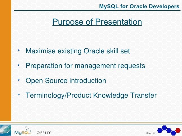 MySQL For Oracle Developers Slide 3