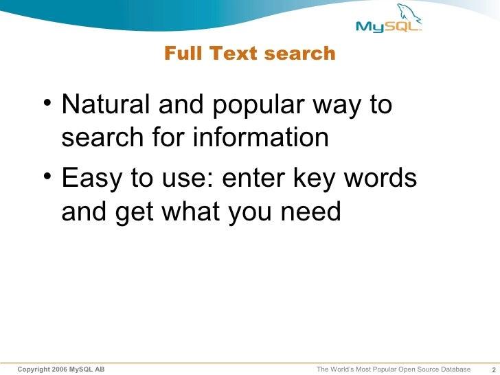 Mysql Fulltext Search 1 slideshare - 웹