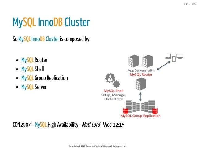 MySQL Router MySQL Shell MySQL Group Replication MySQL Server MySQL InnoDB Cluster So MySQL InnoDB Cluster is composed by:...