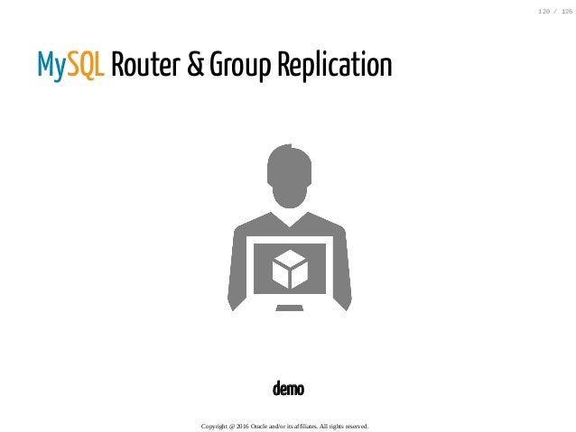 MySQL Router & Group Replication demo Copyright@2016Oracleand/oritsaffiliates.Allrightsreserved. 120/126