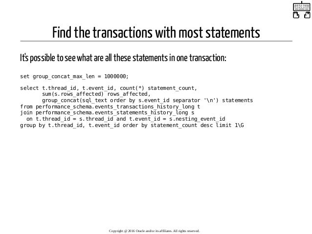 Find the transactions with most statements It's possible to see what are all these statements in one transaction: set grou...