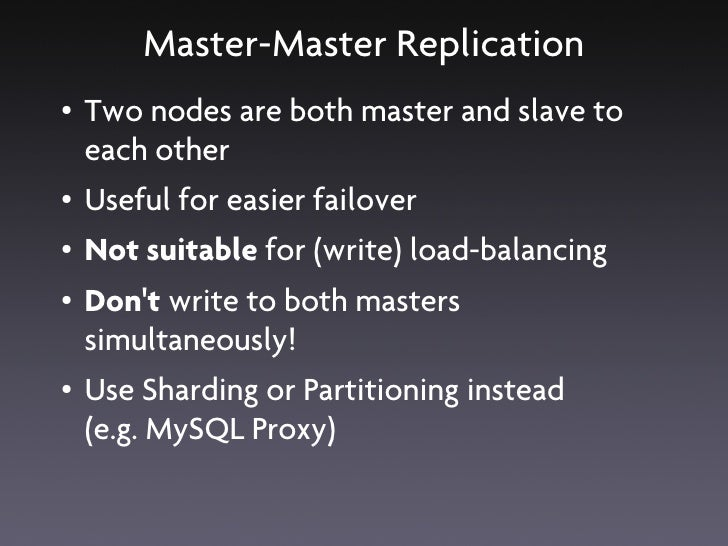 MySQL Cluster & Replication ●   MySQL Cluster       ●   Easy failover from one master to another       ●   Scaling writes ...