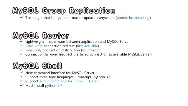MySQL InnoDB Cluster 미리보기 (remote cluster test) Slide 3