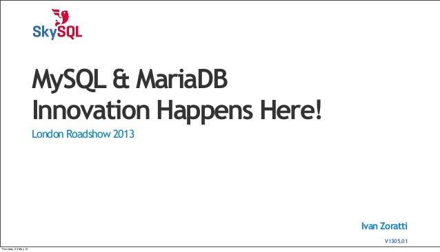 Ivan ZorattiMySQL & MariaDBInnovation Happens Here!London Roadshow 2013V1304.01V1305.01Thursday, 23 May 13