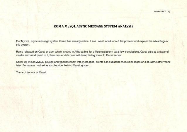 www.vmcd.org  ROMA MySQL ASYNC MESSAGE SYSTEM ANALYSIS  Our MySQL async message system Roma has already online. Here I wan...
