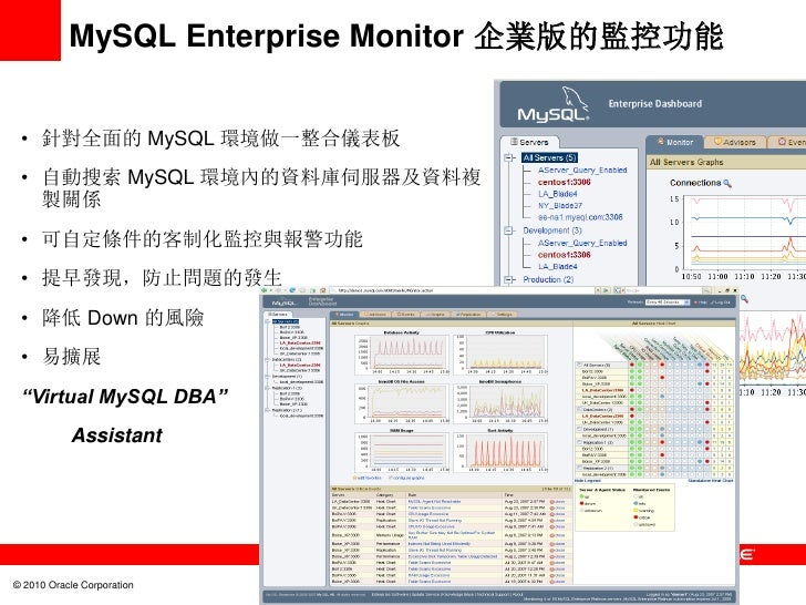 MySQL Enterprise Monitor 企業版的監控功能 • 針對全面的 MySQL 環境做一整合儀表板 • 自動搜索 MySQL 環境內的資料庫伺服器及資料複   製關係 • 可自定條件的客制化監控與報警功能 • 提早發現,防止問題...